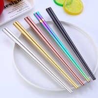 Spklifey 1 Pair Korean Stainless Steel Chopsticks Laser Engraving Patterns Food Sticks Portable Reusable Chopstick Sushi Hashi