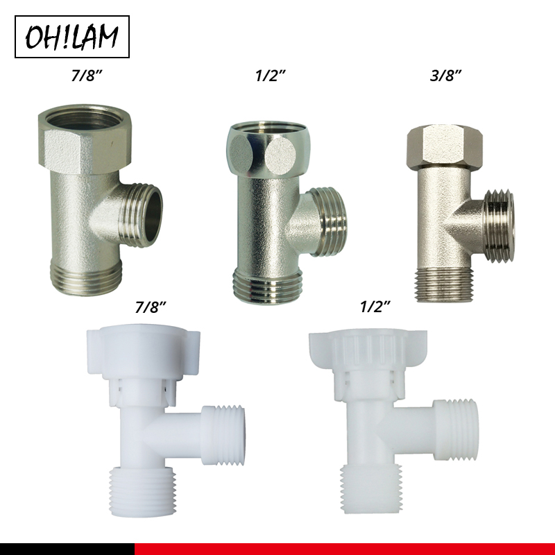 Bathroom Accessories Shower Diverter Valve T-adapter Toilet Tank Connector Angle Valve 7/8 1/2 3/8 Brass Toilet Parts