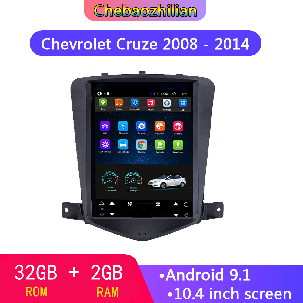 10.4 inch 2.5D IPS Vertical Android 9.0 Multimedia Player For Chevrolet Cruze 2008 - 2014 Car GPS Navigation WIFI Bluetooth 32GB
