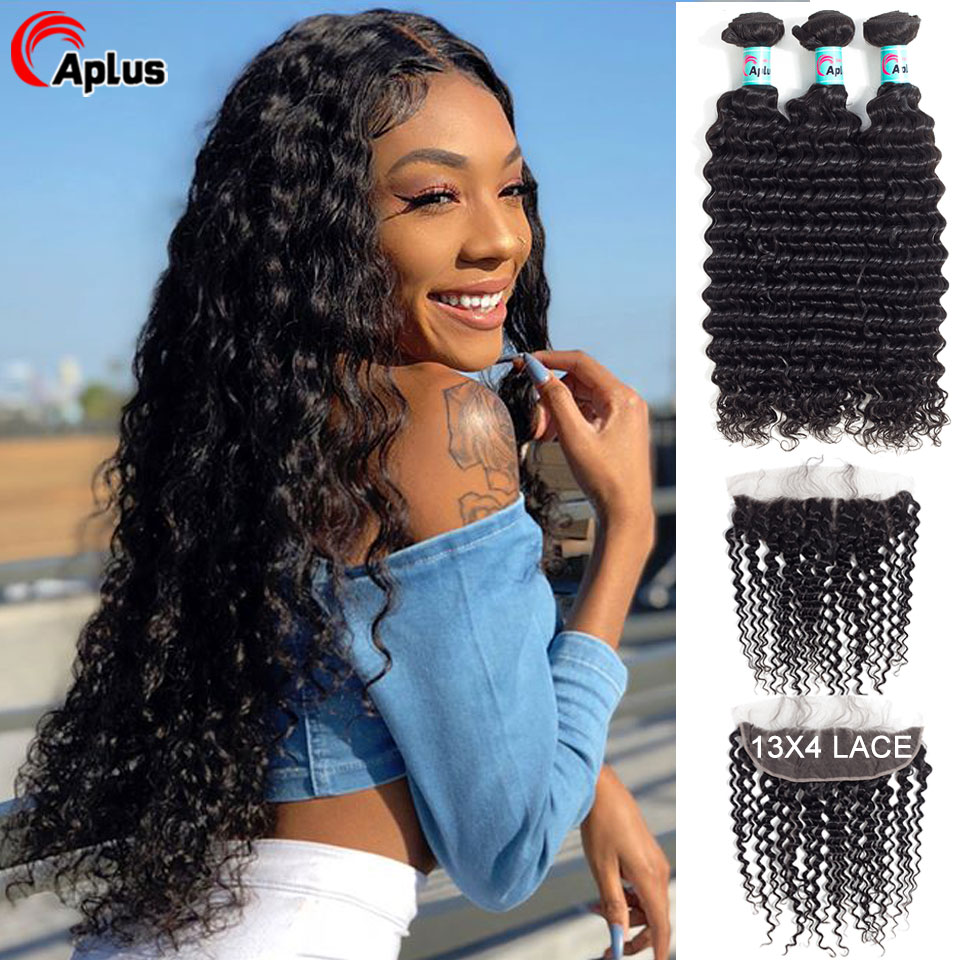 3 Bundles Brazilian Deep Wave Bundles With Frontal 100% Human Hair Bundles With 13*4 Ear To Ear Lace Closure Remy Hair Aplus