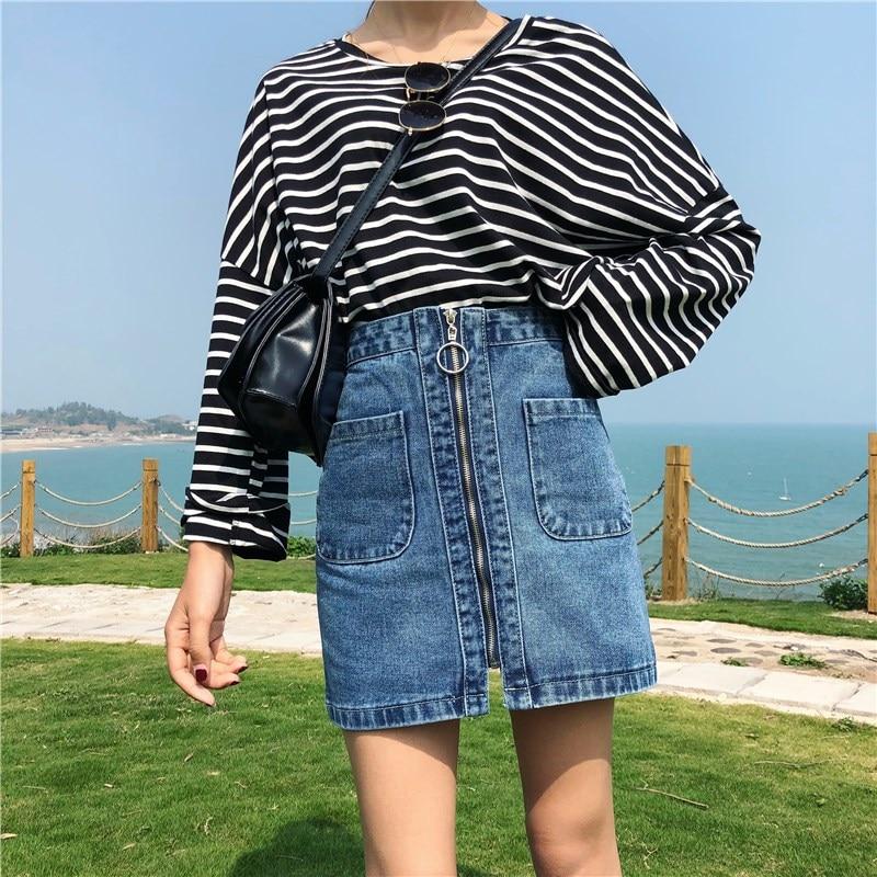 Nice Fashion Women High Waist Mini Skirts Pockets Female A Line Zipper Casual Skirts Summer Solid Denim Skirts
