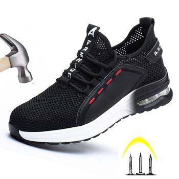 Z stalowa nasadka na palec nowi mężczyźni buty robocze bhp niezniszczalne Ryder buty lekkie oddychające anty-rozbijające anty-przebicie buty damskie tanie i dobre opinie yszshiya Pracy i bezpieczeństwa Mesh (air mesh) ANKLE Stałe Dla dorosłych Płótno Okrągły nosek RUBBER Lato Mieszkanie (≤1cm)