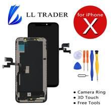 Dla iPhone X wymiana ekranu OLED LCD dotykowy Digitizer montaż 3D dotykowy dla iPhone X ekran LCD nie martwy piksel + narzędzia