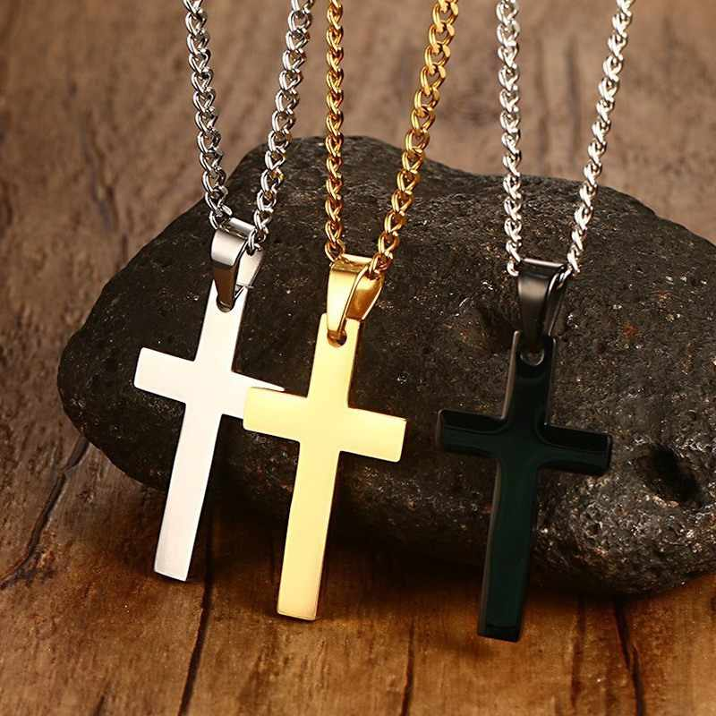 Nova cruz colares & pingentes para homens de aço inoxidável cor ouro masculino pingente colares oração jóias presente amigo