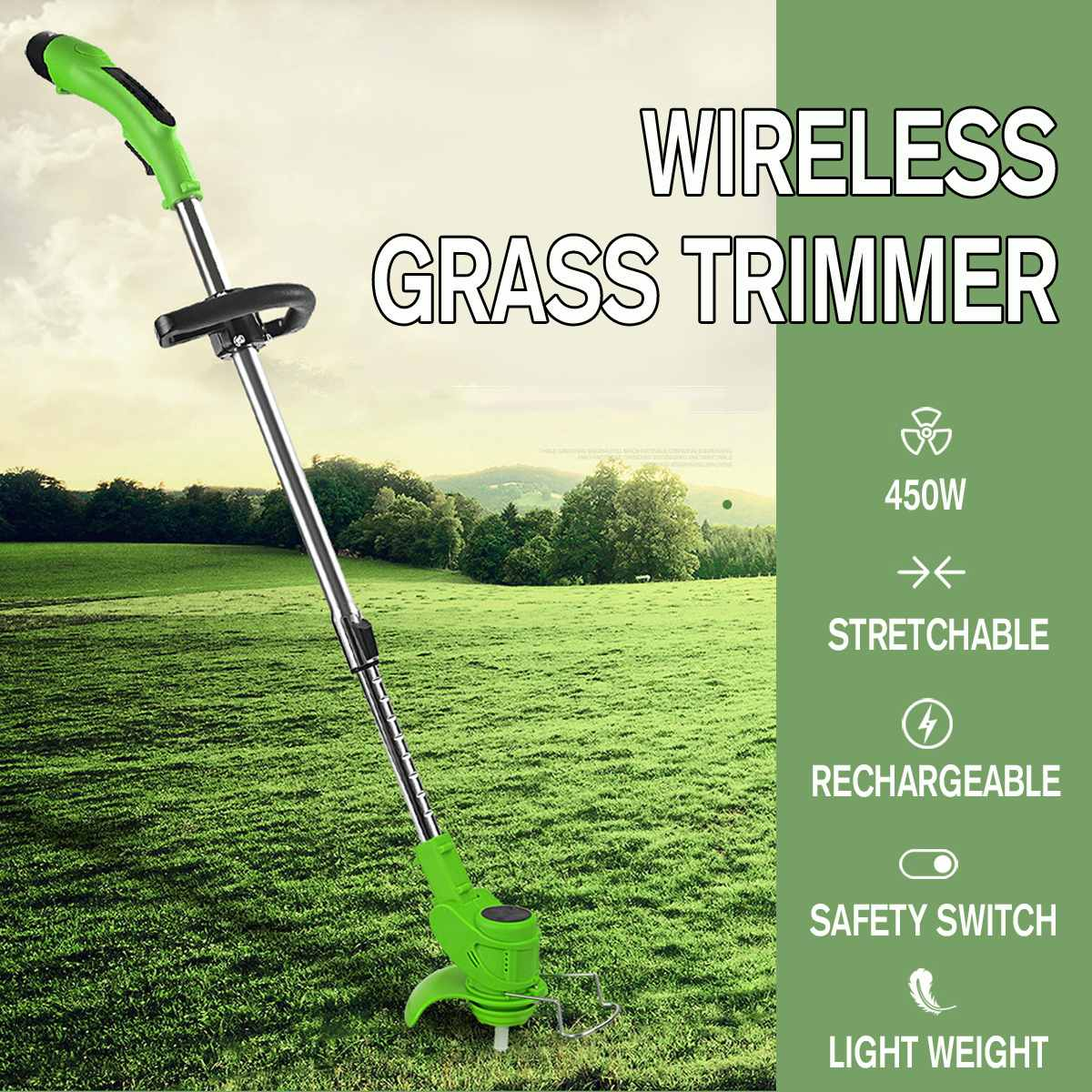 450W Rechargeable Wireless Grass Trimmer 2000mah 12V 18000rpm Adjustable Electric Garden Push Lawnmower Battery amp Charger 4Blade
