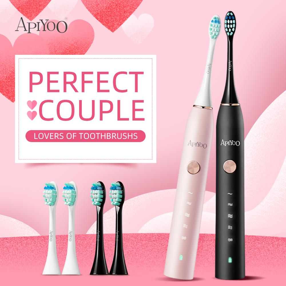 Apiyoo P7 Sonic Electric Toothbrush Black & White Perfect couple Lovers Wireless Rechargeable brush IPX7 Waterproof Toothbrushs image