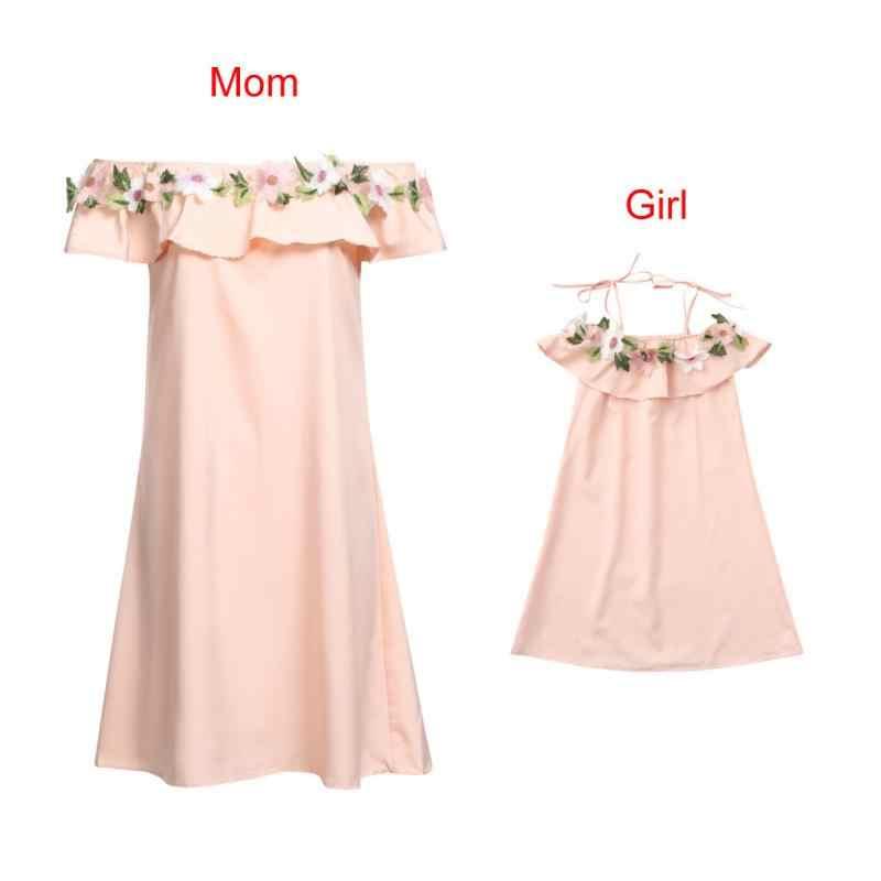 Mamãe & me família menina roupas à moda bar adulto bebê outfits flor fora do ombro vestido mulher mãe menina filha correspondência desse