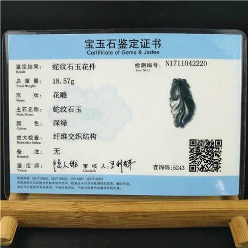 معتمد الصينية الطبيعية الأسود الأخضر اليشم قلادة ذهبية حلية قلادة مجوهرات حجر السج اكسسوارات منحوتة تميمة الهدايا