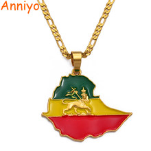 Anniyo Map of Ethiopia Pendant Chain Necklaces For Women Men,Gold Color Flag Ethiopia Maps Jewelry Accessories #225606(China)
