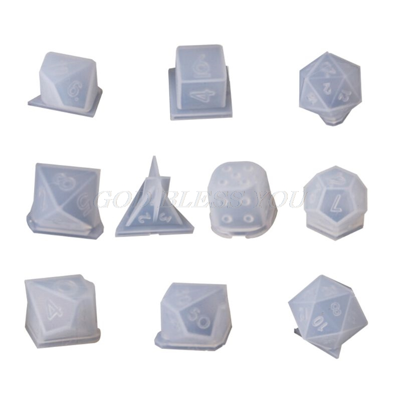 10 Pcs/Set Transparent Epoxy Mold UV Resin DIY Dice Mould Crafts Making Molds