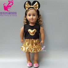 clothes for doll 17 inch born baby doll dress gold color mickey bow headband for 18 inch girl doll clothes set cartoon dress(China)