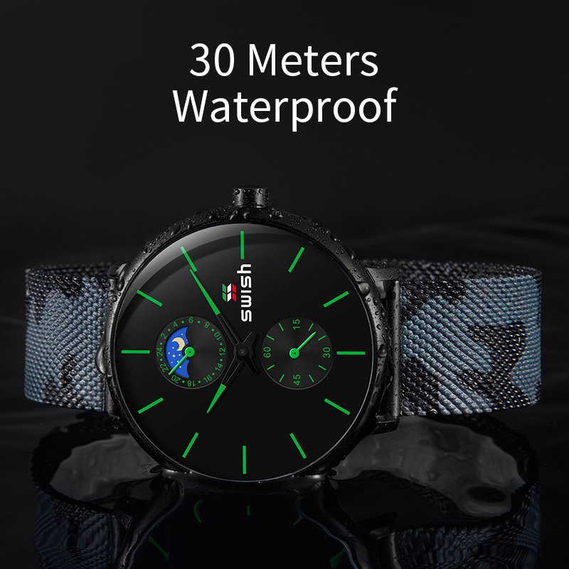 Image 5 - SWISH Watches Men 2019 Mens Watches Top Brand Luxury Quartz Watch Waterproof Camouflage Stainless Steel Strap-in Quartz Watches from Watches