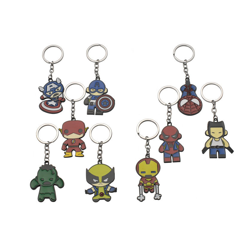 Marvel Legends Avengers q Version Lovely Captain America Key Chain Iron Man Spiderman Keychain Metal Doll Pendant Keyring