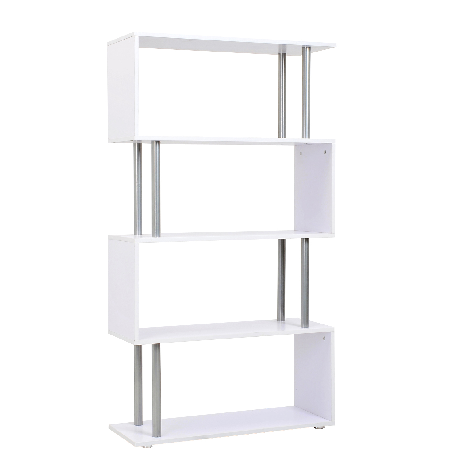 HOMCOM Bookcase Design Modern 4 Shelves Floor Living Room Study Wooden 80 × 30 × 145cm White