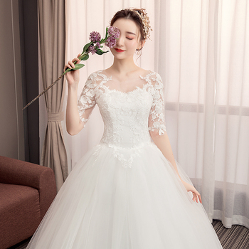 Plus Size Lace Wedding Dress Luxury Bride Princess Dream Dresses Ball Gown Bridal Embroidery - discount item  38% OFF Wedding Dresses