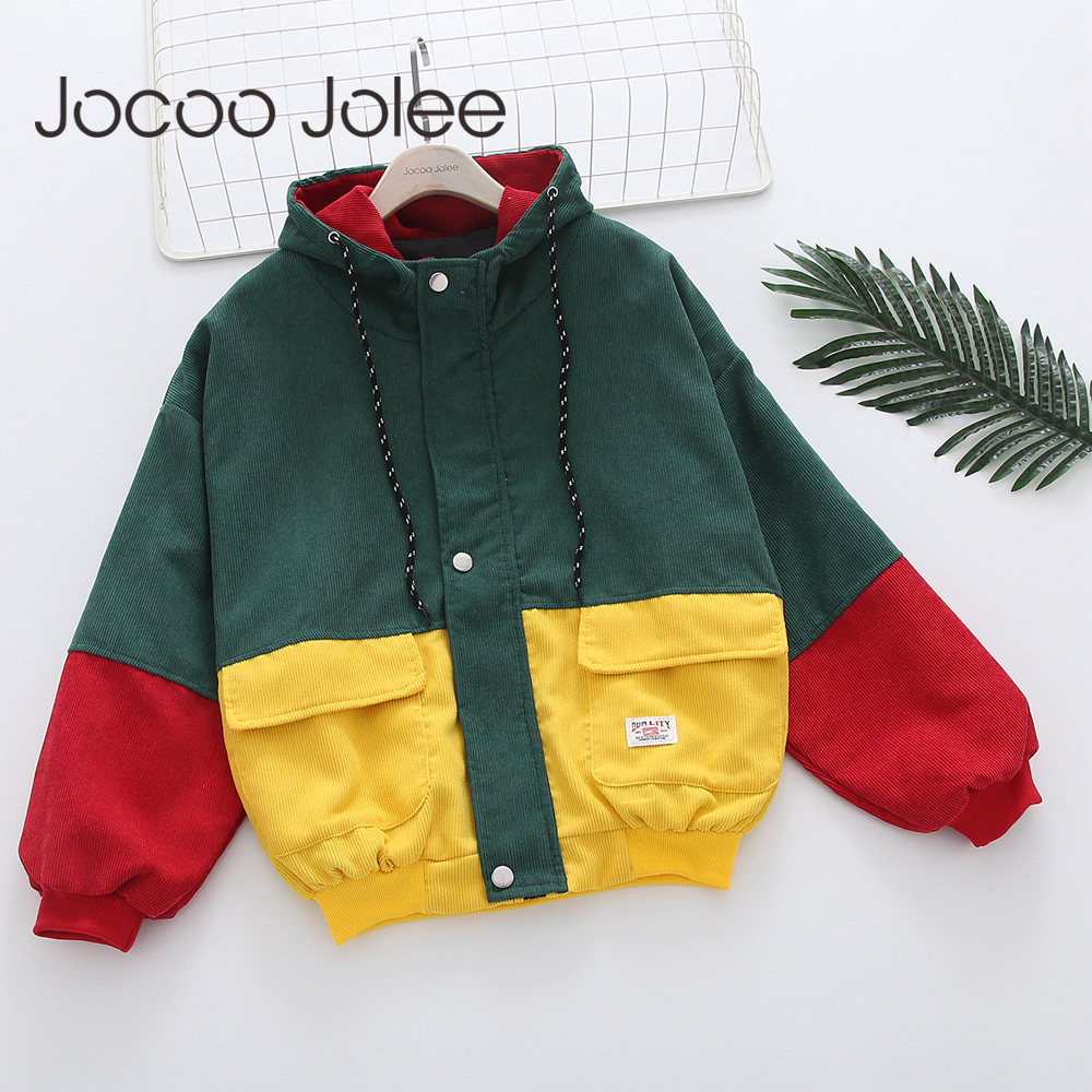Jocoo Jolee Color Block Long Sleeve Corduroy Women Jacket Patchwork Drawstring Hit Color Autumn Jacket Plus Size Women Coat