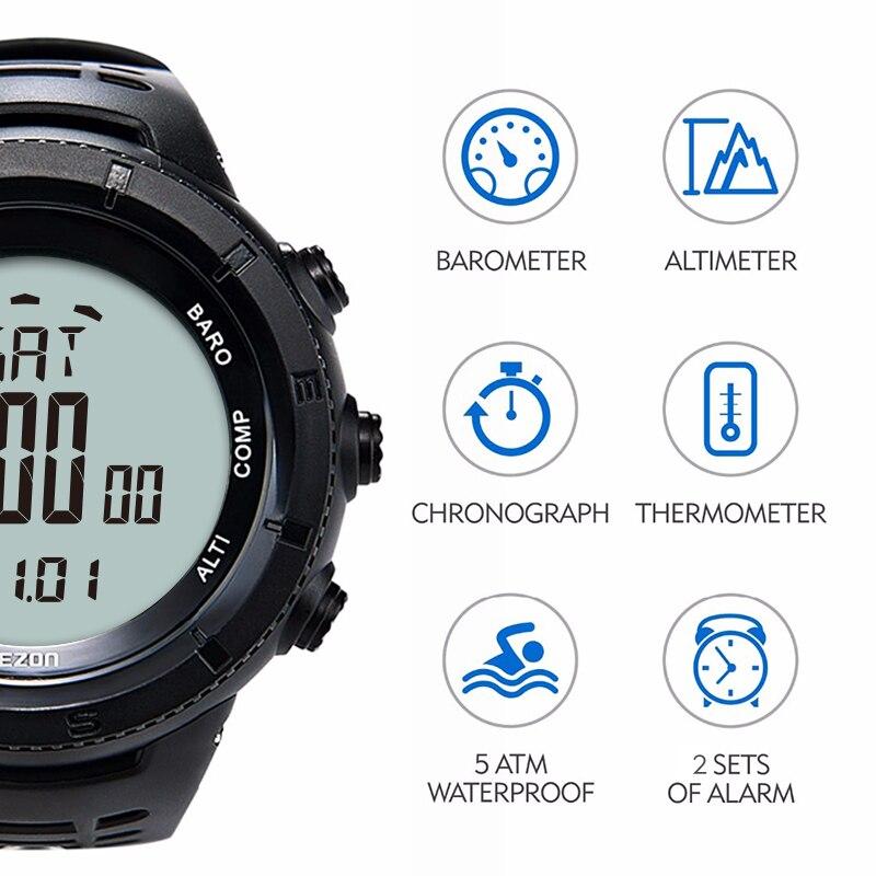 Reloj deportivo Digital EZON para hombre para exteriores para mujer, brújula de barómetro de altitud multifuncional para senderismo a prueba de agua-in Relojes deportivos from Relojes de pulsera    2