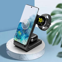 15W Wireless Charger Stand for iPhone 11 Pro XS 8 Samsung Note 10 9 3 in 1 Wireless Charger for Galaxy Buds Samsung Watch 3 S5