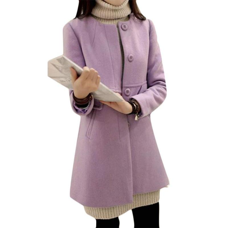 Plus Size Solid Color Overcoat A-shaped Long Sleeve Coat Women Outwear 34