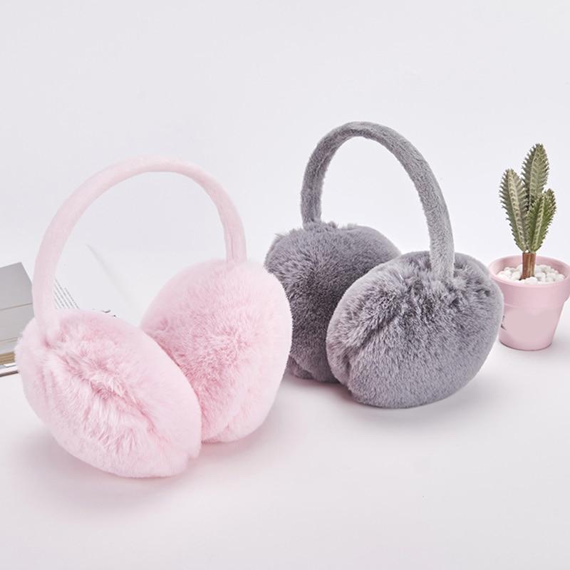 Faux Rabbit Fur Earmuffs Winter Warm Soft Plush Ear Cover  Protable Adjustable Solid Color Earmuffs Casual Unisex Hot Sale