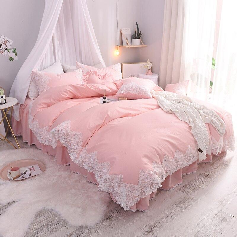 เจ้าหญิงชุดเครื่องนอน 3 ชุด/4 pcs สีชมพูสีม่วงสีเทาสีฟ้าชุดผ้าคลุมเตียงขอบลูกไม้ผ้าฝ้ายกระโปรงแผ่นสำหรับสาวห้องนอน-ใน ชุดเครื่องนอน จาก บ้านและสวน บน   1