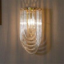 modern clear glass tube wall lamp light sconce hotel foyer bathroom bedroom bedside gold wall light lamp home lighting
