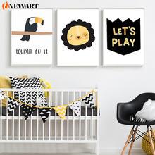 Черный желтый солнце попугай питомник мультфильм стены искусства