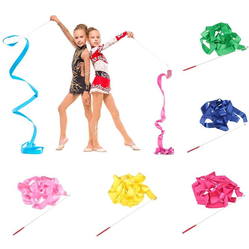 Colorful 4M Gym Ribbons Dance Ribbon Rhythmic Art Gymnastics Ballet Streamer Twirling Gymnastic Rod Stick For Gym Training