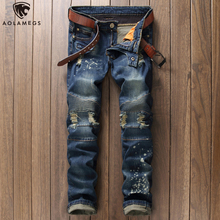 Aolamegs Jeans Men Hole Ripped Patchwork Denim Pants Harajuku Casual Slim Fit Trousers Spring High Street Fashion Streetwear