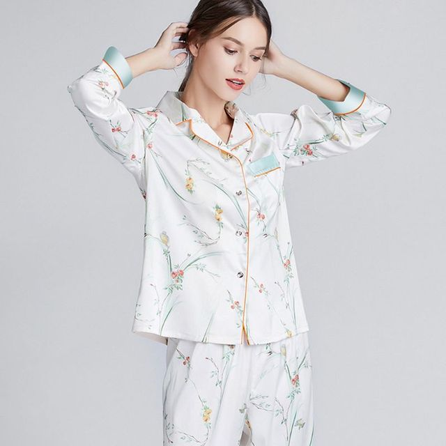 Women's Floral Pajamas Set With Long Sleeve Button Down Top + Long Trousers