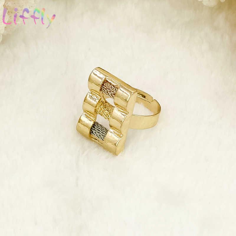 Liffly אפריקאי זהב תכשיטי סטים לנשים קלאסי קריסטל שרשרת צמיד עגילי טבעת מסיבת חתונת תכשיטי סטי עבור הכלה