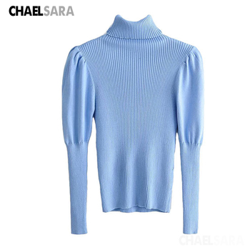 Spring Autumn Turtleneck Puff Sleeve Basic Knitting Sweater Women Solid Casual Slim Pullovers Chic Tops casual basic turtleneck sweater women knitted pullovers ladies solid sweater jumpers autumn female knitting tops jk153