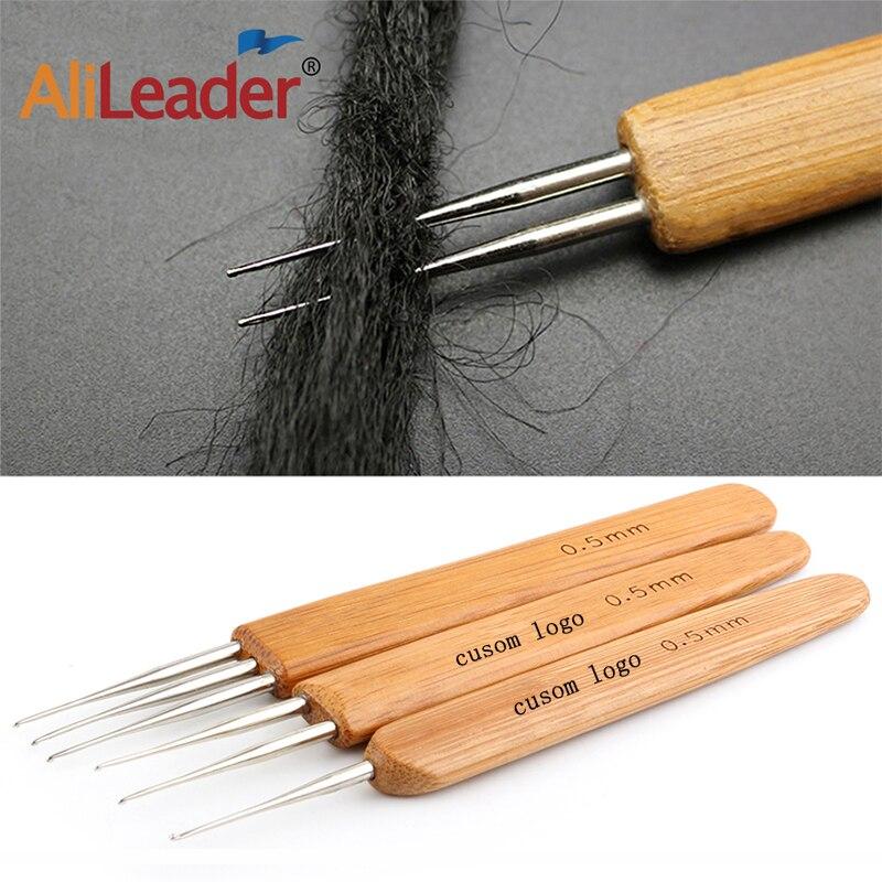 Alileader Bamboo Crochet Hook 1/2/3 Stainless Steel Hook-Head Crochet Hook Needles For Making Wig Cap Dreadlock Wig Weaving Tool