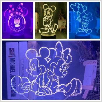 Luz de noche 3d de Disney Mickey y Minnie para decoración de...
