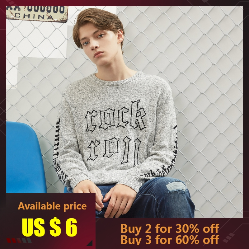 Metersbonwe New Brand Solid Colour Sweater Men 2019 Autumn Fashion  Knitted Men Cotton Hip Pop Sweater High Quality Streetwear