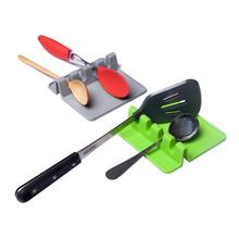 Silicone Spoon Rest Heat Resistant Tool Kitchen Utensil Spatula Holder Soup Pot Fixing Clip Cooking Tools Rack Storage Organizer