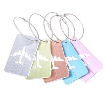 Etiquetas de equipaje cepilladas de aleación de aluminio, accesorios de viaje para equipaje, etiqueta de equipaje de bolso para etiqueta (5 uds)
