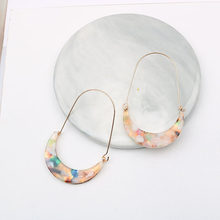 Acrylic Moon Hoop Earrings for Women Hot Sales Modern Jewelry Vintage Fashion Woman Earrings Female 2019(China)