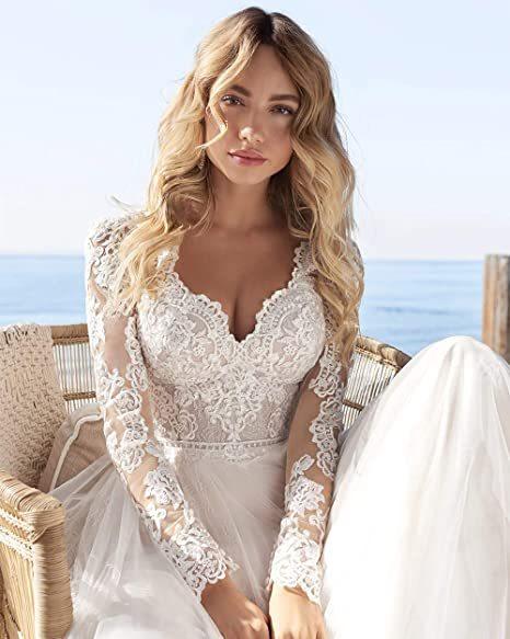 A Line Long Sleeve Wedding Dress Lace Bridal Dresses 2020 Tulle Ivory Vestido De Novia Open Back свадебное платье Plus Size 6