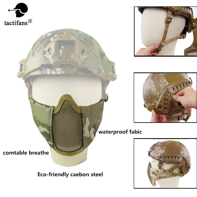 Тактическая Маска полулицевая шлем лицевая маска с металлической сеткой версия металлическая защитная ARC Rails для пейнтбольной вечеринки ма...