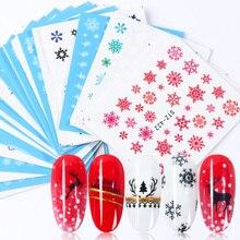 30 個白雪ンネイルステッカーアートスライダークリスマス装飾爪デザイン箔水デカールマニキュア TR862
