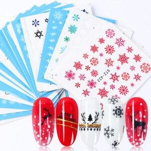 Image 1 - 30 個白雪ンネイルステッカーアートスライダークリスマス装飾爪デザイン箔水デカールマニキュア TR862