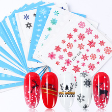 30pcs Bianco Fiocchi di Neve Autoadesivi Del Chiodo di Arte Cursori Set Per Natale Decorazioni Unghie Disegni Fogli Acqua Decalcomanie Manicure TR862