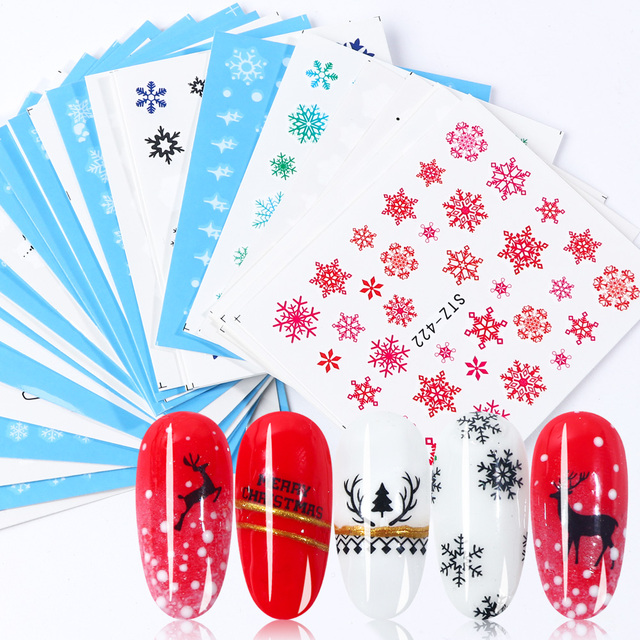 30pcs White Snowflakes Nail Stickers Art Sliders Set For Christmas Decorations Nails Designs Foils Water Decals Manicure TR862