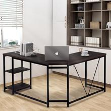 Office Desk L-Shaped Computer Desks With 2 Tier Storage Shelves For Home Office Accessories