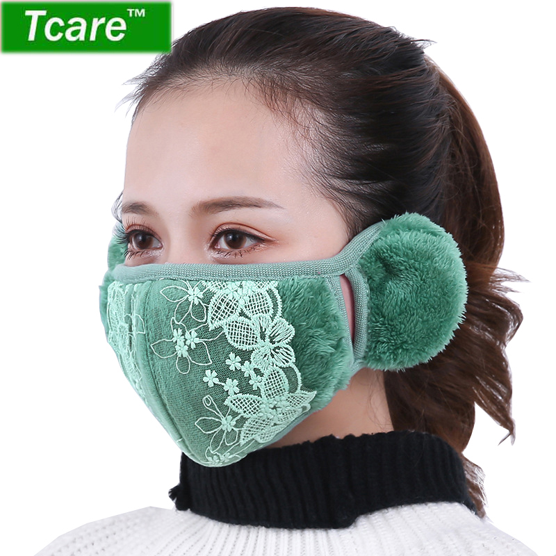 For Anti-dust 1pcs Protect Mouth Windproof Ears Mask Women Protection Face Girls Anti-fog Lace