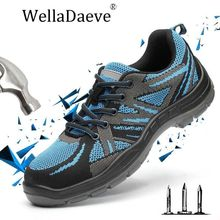 Men Steel Toe Safety Shoes Construction Breathable Outdoor Work Ankle Boots For Anti-piercing Anti-slip Protective Footwear