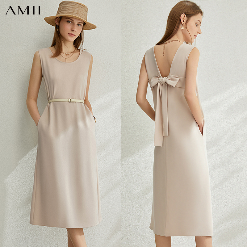 AMII Minimalism Spring Summer Solid Oneck Women Dress Causal Open Back Bow Slim Fit Loose Female Dress 12070127