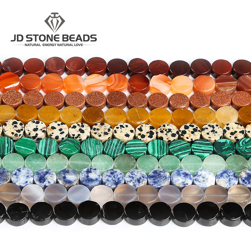 Wholesale Natural Stone Agate Jade Turquoise Quartz Flat Round Loose Beads For Women Men Jewelry DIY