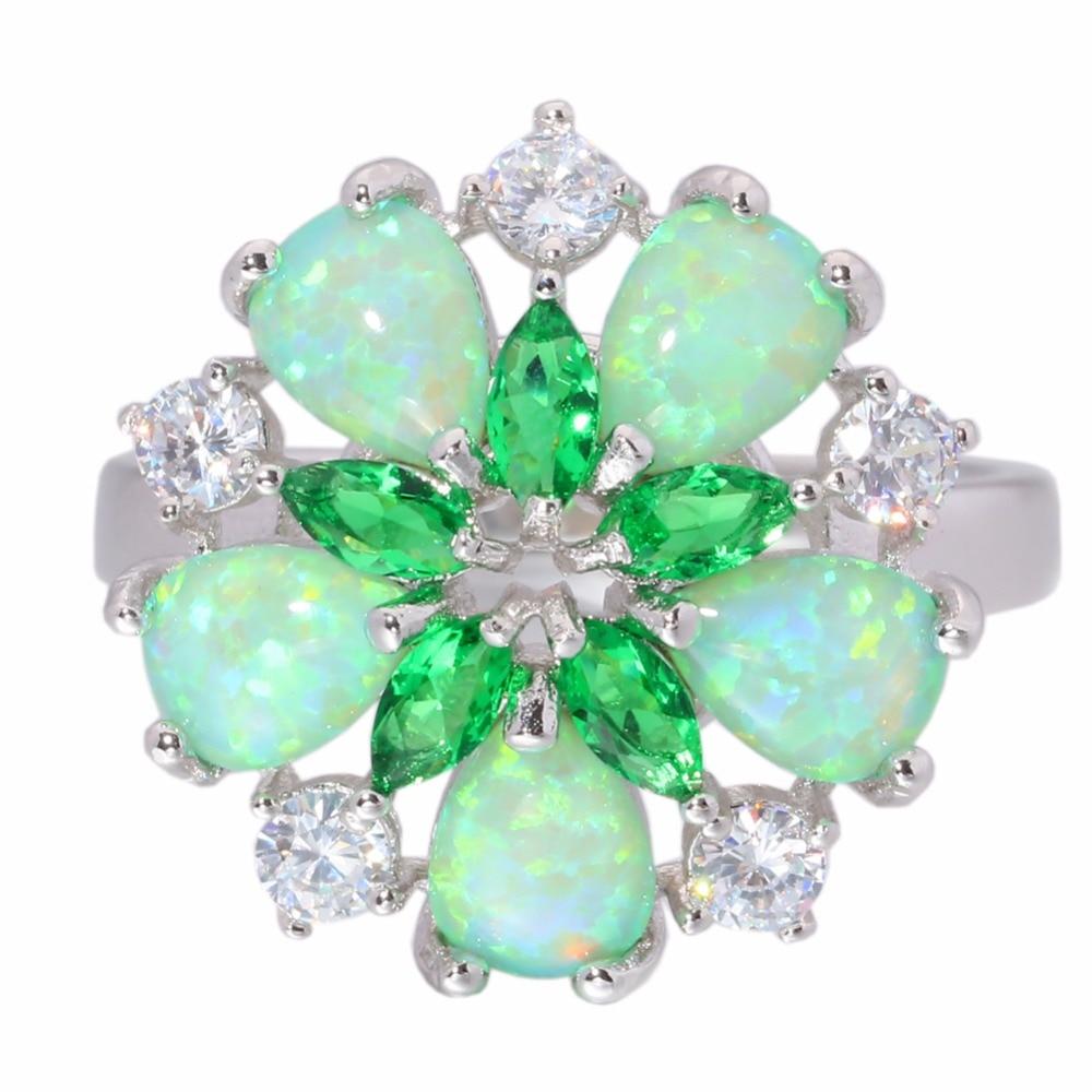 CiNily Mewah Hijau Api Opal Batu Cincin Besar Perak Disepuh Bunga - Perhiasan fesyen - Foto 3